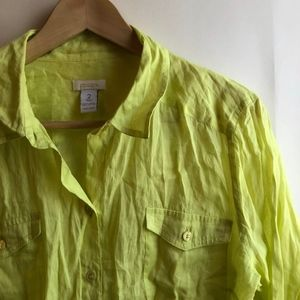 CHICO'S 2 Neon Lime Green Long Sleeve Button Down